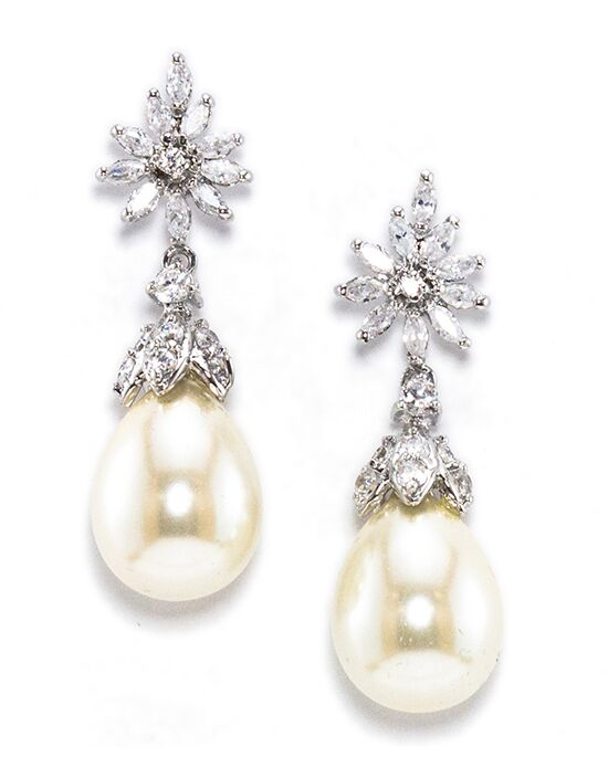 Anna Bellagio FELICE ELEGANT CUBIC ZIRCONIA AND FRESHWATER PEARL DROP Wedding Earring photo