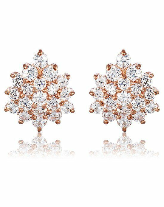 Thomas Laine Grace Cluster Earrings - Rose Gold Wedding Earring photo