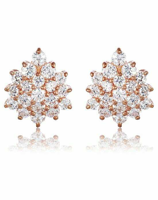 Thomas Laine Grace Cluster Earrings - Rose Gold Wedding Earrings photo