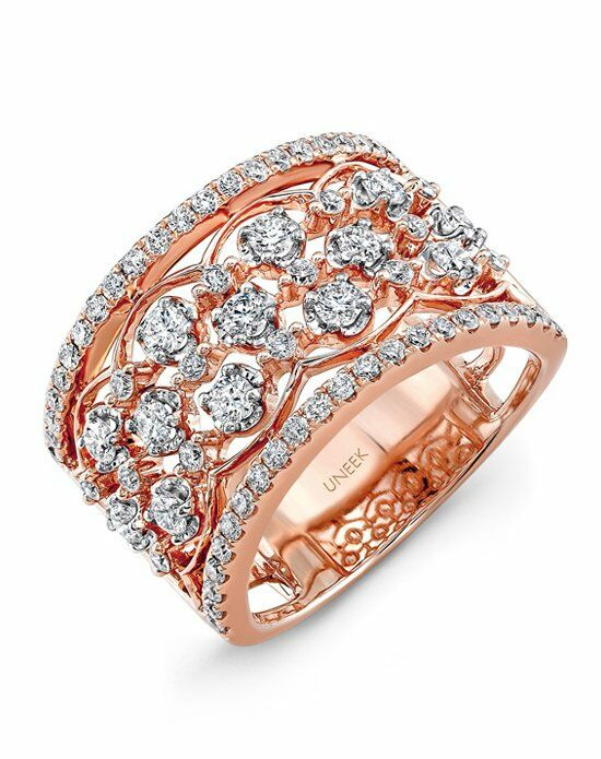 Uneek Fine Jewelry The Rose Garland Open Lace Three-Row Diamond Band/LVBW405R Gold Wedding Ring