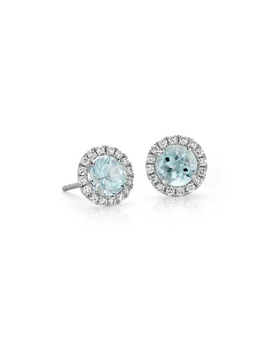 Blue Nile Aquamarine and Micropavé Diamond Earrings Wedding Earring photo