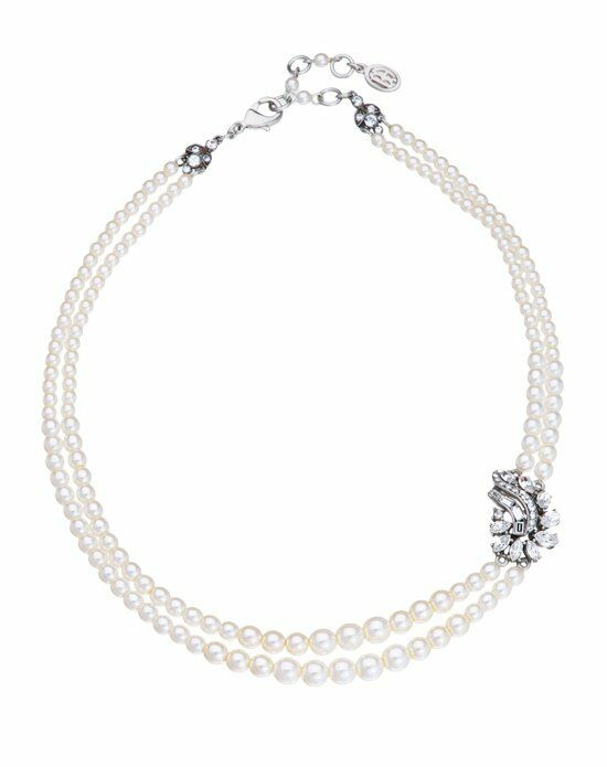 Thomas Laine Ben-Amun Bridal Double Row Pearl and Crystal Garland Necklace Wedding Necklaces photo