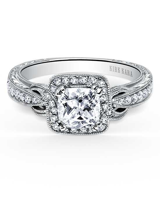 Kirk Kara Elegant Cushion Cut Engagement Ring