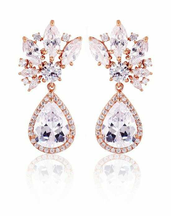 Thomas Laine Ava Burst Teardrop Earrings - Rose Gold Wedding Earring photo