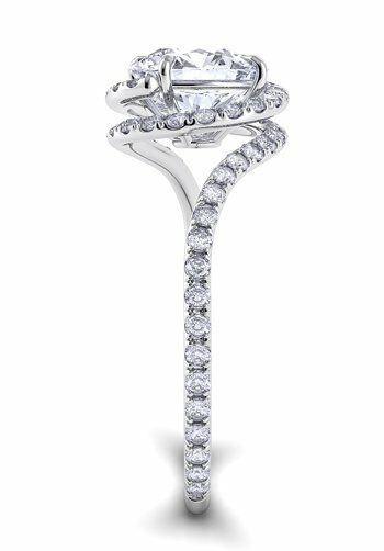Danhov Abbraccio Swirl With Diamonds White Gold Wedding Ring