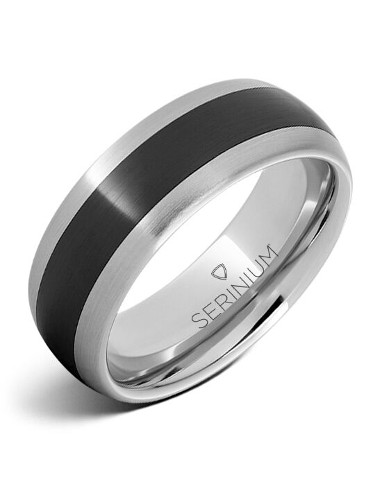Serinium® Collection Counterpoint Satin — Serinium® & Blk Ceramic Ring-RMSA002210 Serinium® Wedding Ring