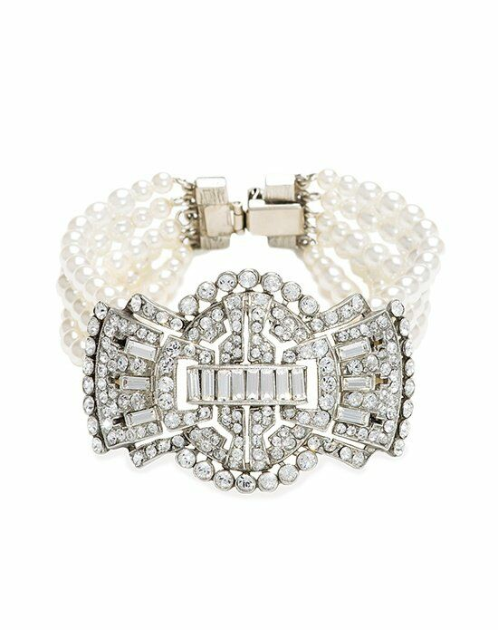 Thomas Laine Ben-Amun Bridal 5 Row Pearl and Deco Crystal Bow Bracelet Wedding Bracelet photo