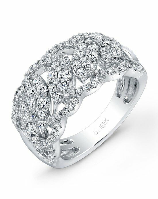 Uneek Fine Jewelry The Leaf Guipure Diamond Band /LVR105 White Gold Wedding Ring
