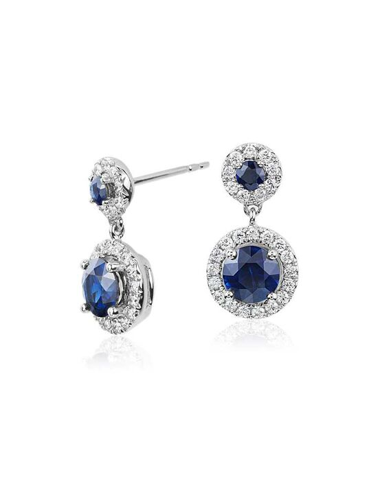Blue Nile Isola Sapphire and Diamond Halo Dangle Earrings Wedding Earring photo