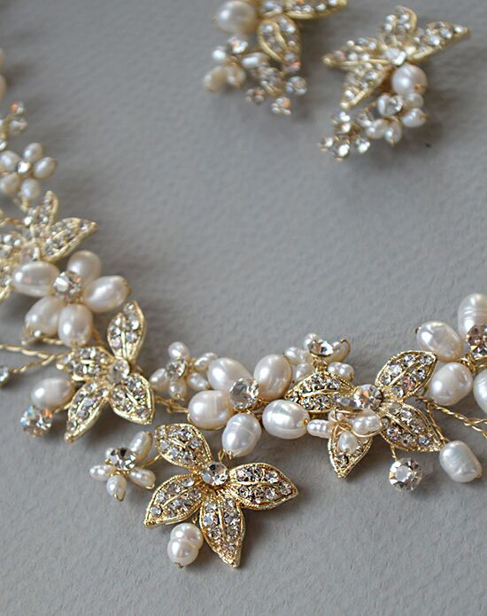 USABride Floral Garden Pearl Gold Jewelry Set JS-1670-G Wedding Necklaces photo