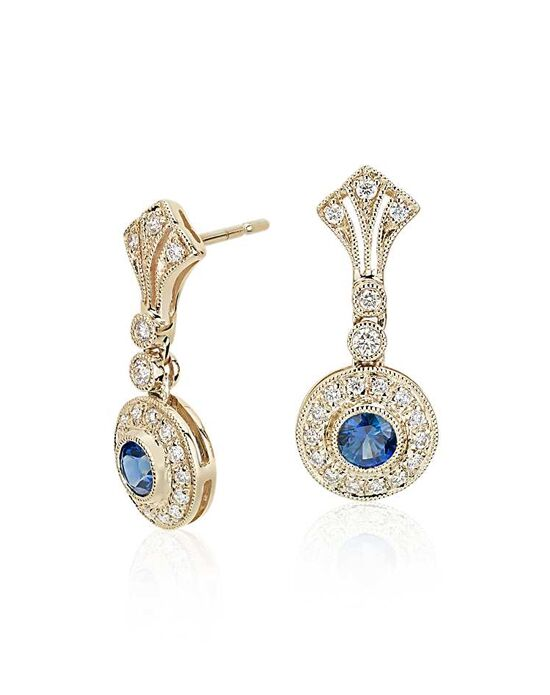 Blue Nile Sapphire and Diamond Vintage-Inspired Earrings Wedding Earring photo