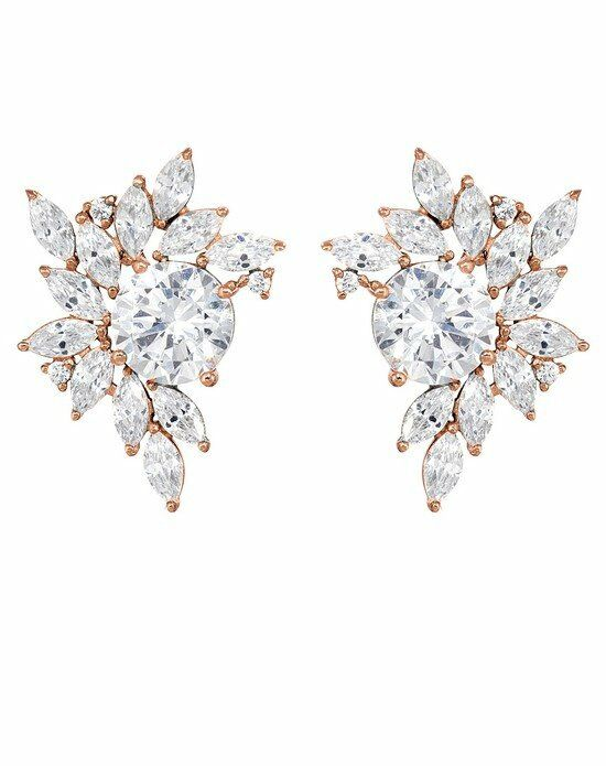 Thomas Laine Liz Rose Gold Garland Cluster Earrings Wedding Earring photo