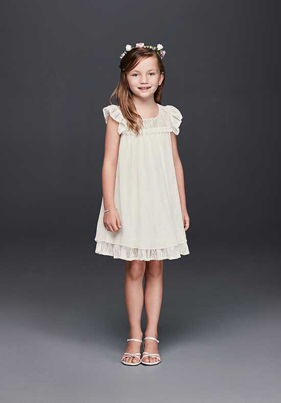 David's Bridal Flower Girl S36623DS Ivory Flower Girl Dress