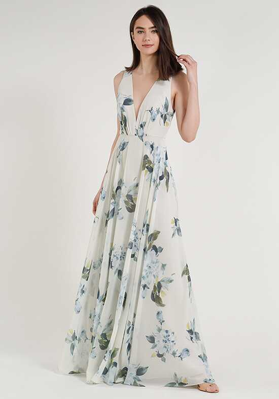 Jenny Yoo Collection (Maids) Ryan Print V-Neck Bridesmaid Dress