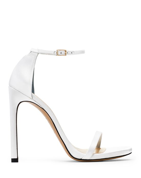 Stuart Weitzman Nudist Stiletto Bridal White Satin
