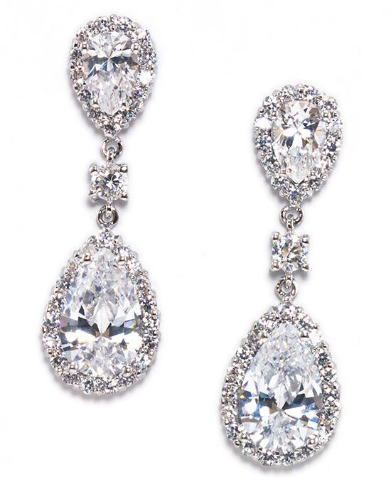Anna Bellagio KEIRSTEN PEAR SHAPE CUBIC ZIRCONIA STATEMENT EARRING Wedding Earring photo