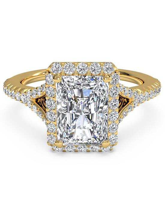 Ritani French-Set Halo Diamond 'V' Band Engagement Ring - in 18kt Yellow Gold (0.23 CTW) for a Radiant Center Stone Engagement Ring photo
