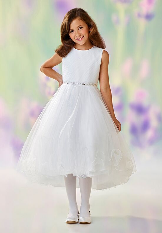 Joan Calabrese by Mon Cheri 118307 White Flower Girl Dress