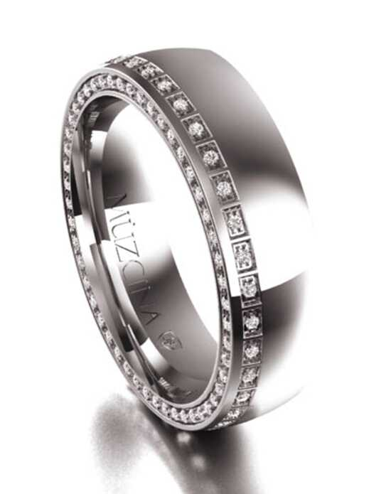 MÜZCINA by JJBückar BX31-H-100-D-OA-EB-14P-PX-65 Palladium, White Gold Wedding Ring