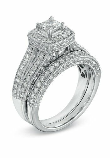 zales 1 1 4 ct t w princess cut frame bridal set