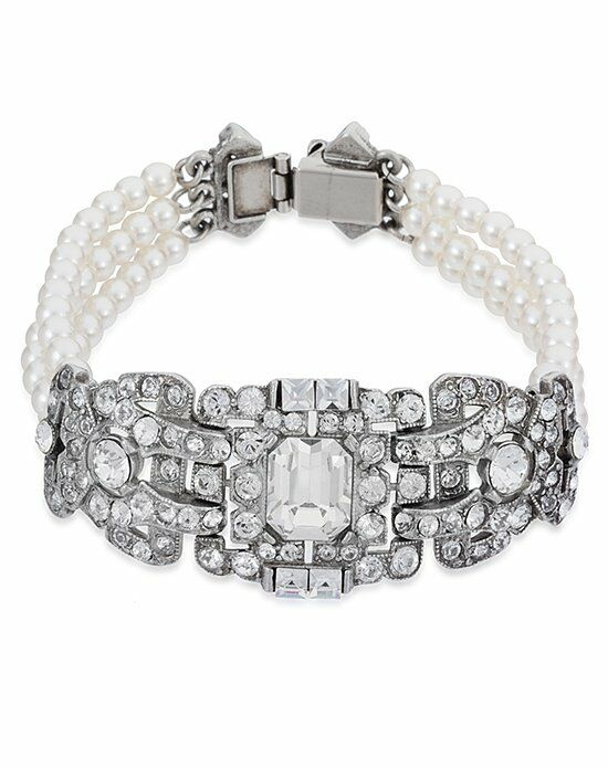 Thomas Laine Ben-Amun Bridal Deco Crystal & Pearl Bracelet Wedding Bracelet photo