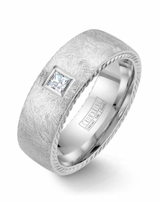 CrownRing WB-013RD8W-M10 White Gold Wedding Ring