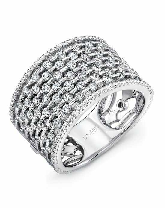 Uneek Fine Jewelry The Point D'Esprit Diamond Band /LVBW324W White Gold Wedding Ring