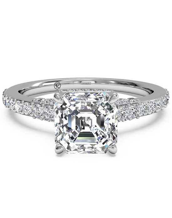 Ritani French-Set Diamond Band Engagement Ring - in 14kt White Gold (0.45 CTW) for a Asscher Center Stone Engagement Ring photo