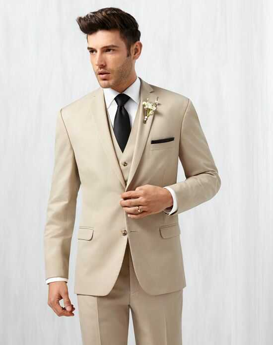 Men's Wearhouse Pronto Uomo Tan Notch Lapel Suit Champagne Tuxedo