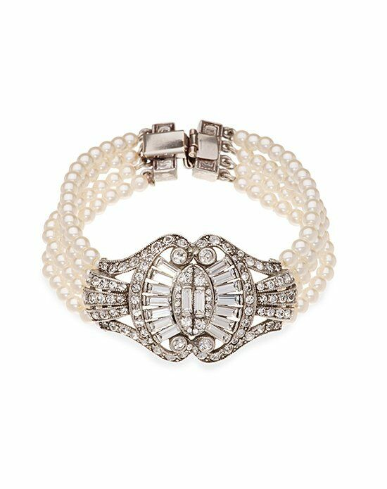 Thomas Laine Ben-Amun Bridal 4 Row Pearl and Crystal Sweetheart Bow Bracelet Wedding Bracelet photo