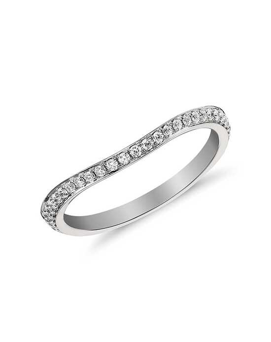 Monique Lhuillier Fine Jewelry Curved Pavé Diamond Ring (1/8 ct. tw.) Platinum Wedding Ring