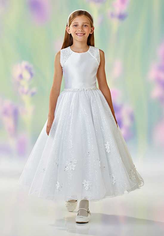 Joan Calabrese by Mon Cheri 118314 White Flower Girl Dress