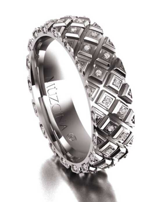MÜZCINA by JJBückar BX22-H-100-D-OB-EA-14P-PX-65 White Gold,Palladium Wedding Ring