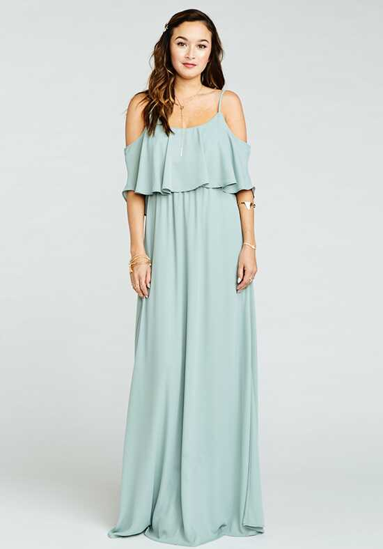 Show Me Your Mumu Caitlin Ruffle Maxi Dress - Silver Sage Crisp Scoop Bridesmaid Dress