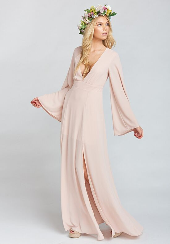 Show Me Your Mumu Venus Long Sleeve Flare Dress - Dusty Blush Crisp V-Neck Bridesmaid Dress