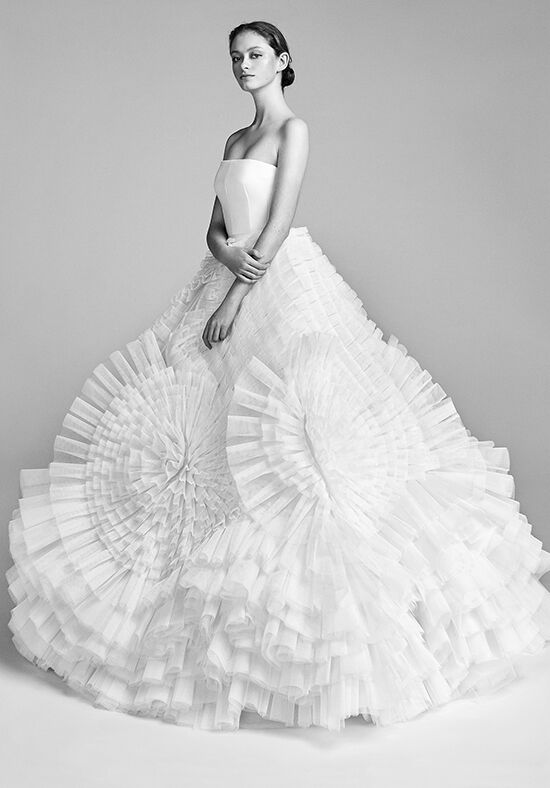 Viktor Rolf Mariage Pleated Tulle Swirl Ball Gown Wedding Dress