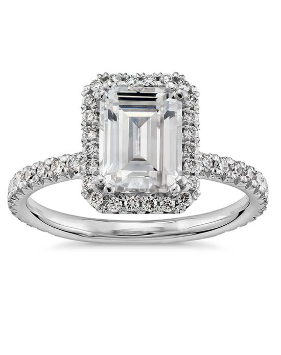 "Say ""Yes!"" in Platinum Elegant Emerald Cut Engagement Ring"