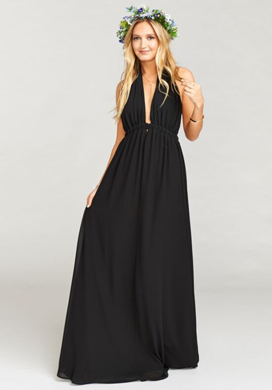 Show Me Your Mumu Luna Halter Dress - Black Chiffon Halter Bridesmaid Dress