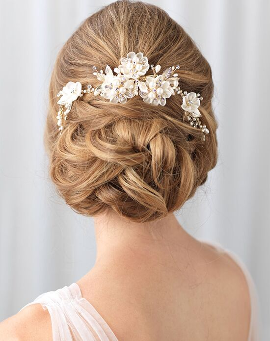 USABride Flower & Tulle Bridal Hair Clip TC-2309-G Gold, Silver Pins, Combs + Clip