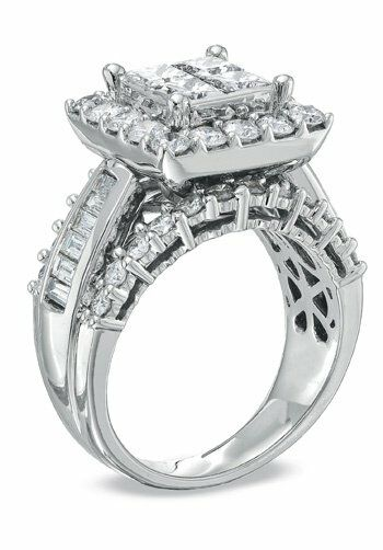 Zales 3 CT. T.W. Princess-Cut Quad Diamond Engagement Ring ...