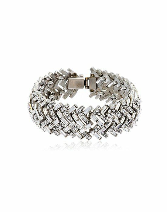 Thomas Laine Ben-Amun Baguette Crystal Herringbone Bracelet Wedding Bracelet photo