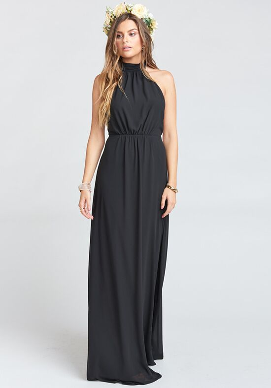 Show Me Your Mumu Collette Collar Dress - Black Chiffon Halter Bridesmaid Dress