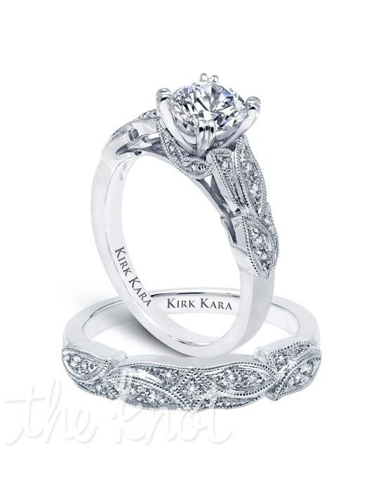 Kirk Kara Dahlia Collection K156R & K156-B Platinum, White Gold Wedding Ring
