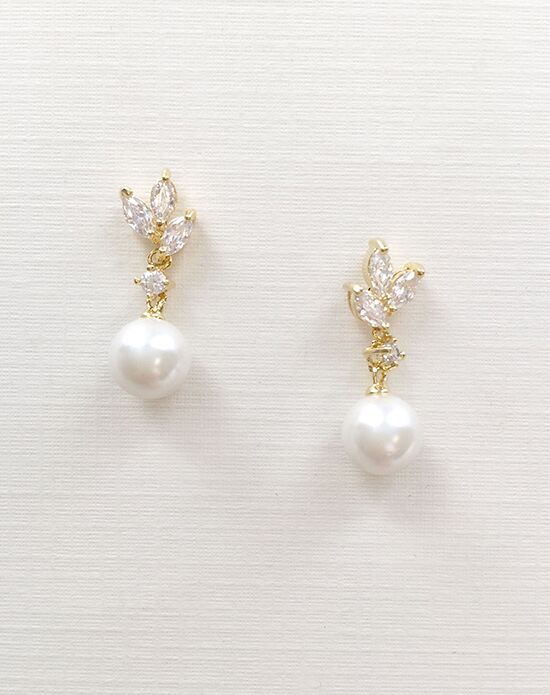 USABride Petite Pearl & CZ Gold Floral Earrings JE-4072-G Wedding Earring photo