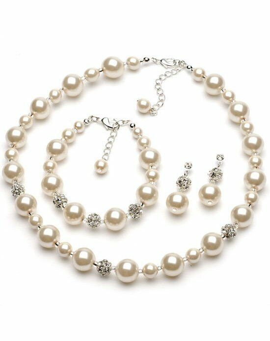 USABride Lustrous Pearl & Pave Crystal Jewelry Set JS-1360 Wedding Necklace photo