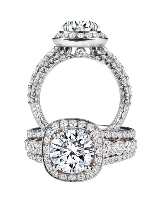 Jack Kelege Elegant Round Cut Engagement Ring