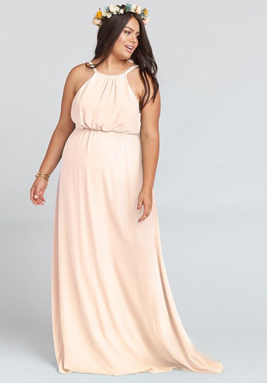 d63fa977ead8d Show Me Your Mumu Amanda Maxi Dress - Dusty Blush Crisp Halter Bridesmaid  Dress