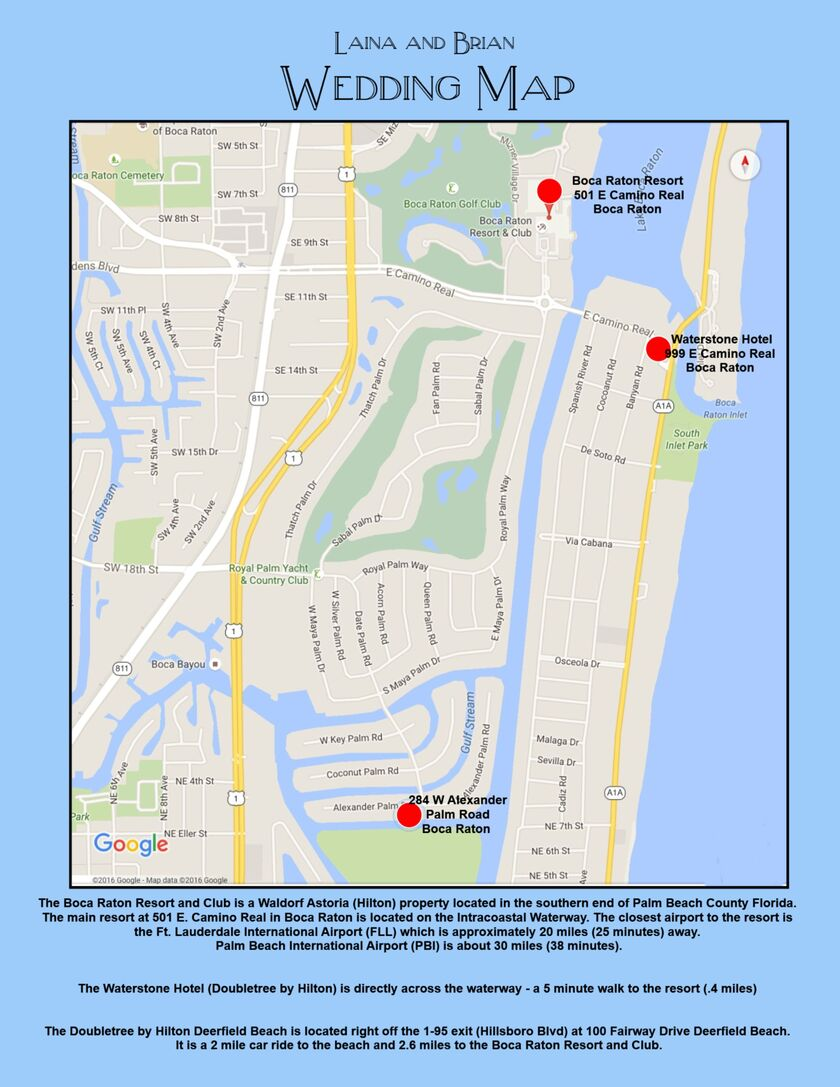 boca raton map. laina frantz and brian hammel's wedding website