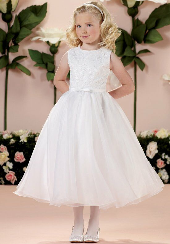 Joan Calabrese by Mon Cheri 114350 White Flower Girl Dress
