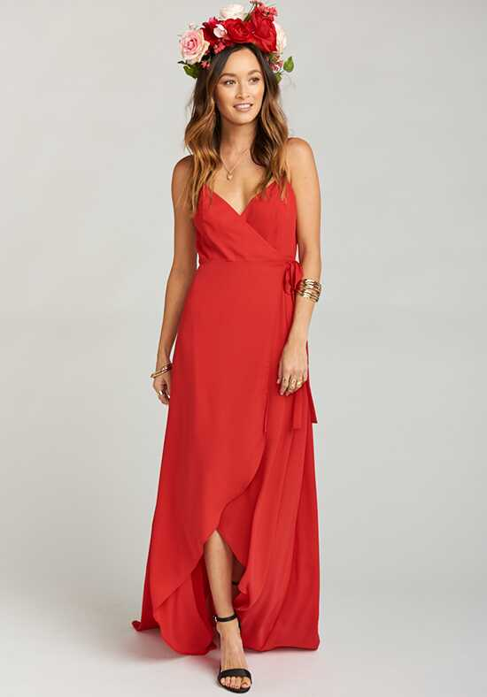 Show Me Your Mumu Mariah Wrap Dress - Lady In Red Crisp V-Neck Bridesmaid Dress